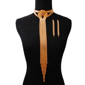 Gold Knotted Long Tassel Choker Set